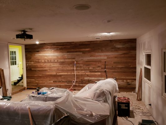 Man Cave Install Reclaimed Wood